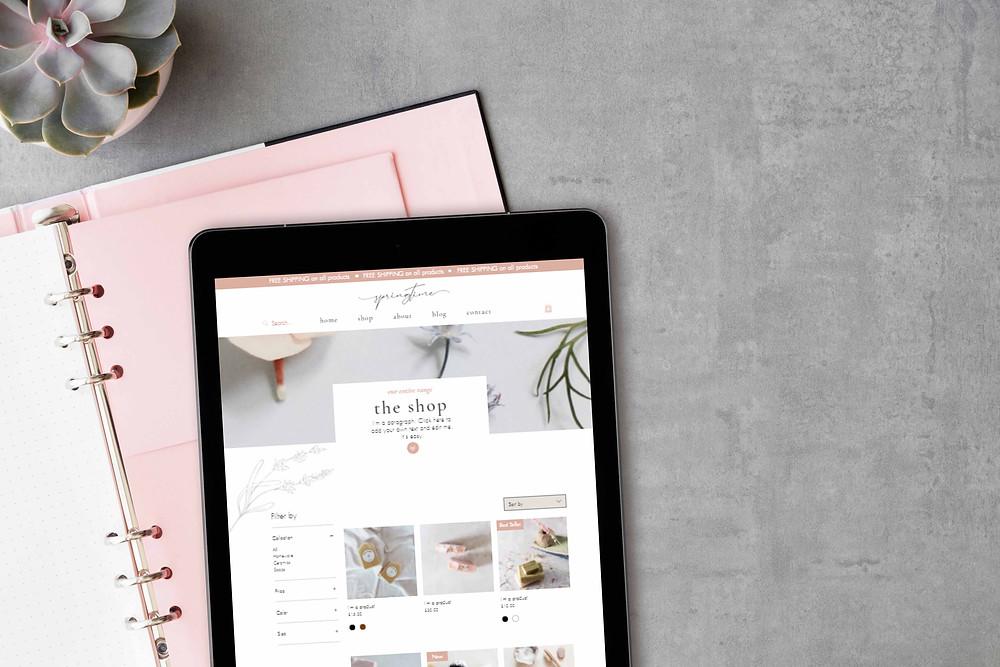 Springtime shop website template on tablet