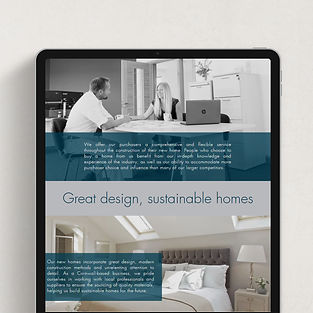mockup of tablet with website on screen