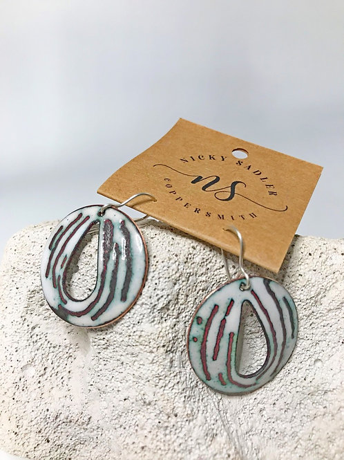 Nicky Sadler White Enamel Earrings