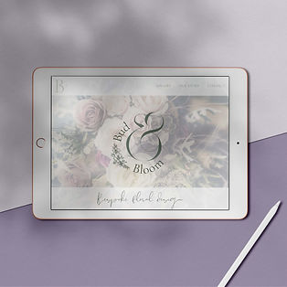 mockup of tablet with website homepage on screen on purple background