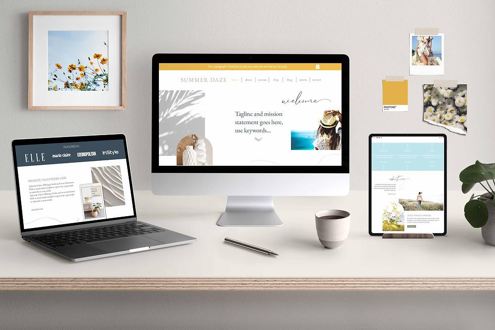 Summer Daze website template on multiple devices