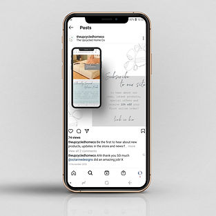 Mockup of mobile phone with social media post