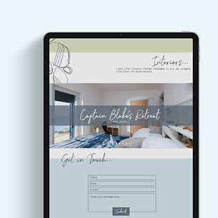 mock up of tablet with website contact page on screen