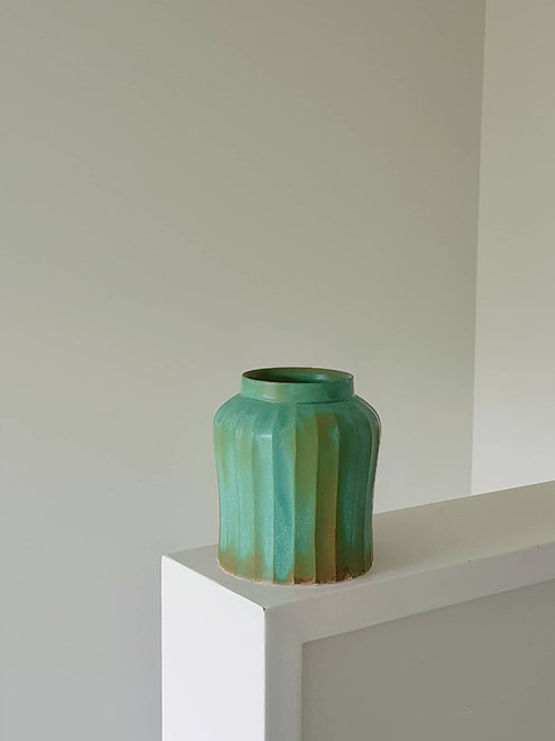 Satin Jade Green Carved Vase
