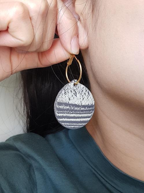 Black and White Marbling Earrings
