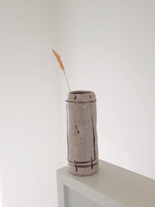 Warm White Speckled Vase