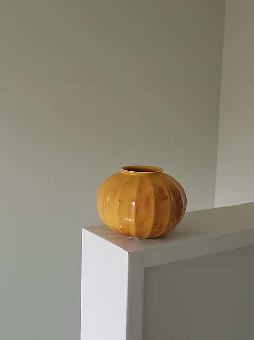 Golden Yellow Carved Jar