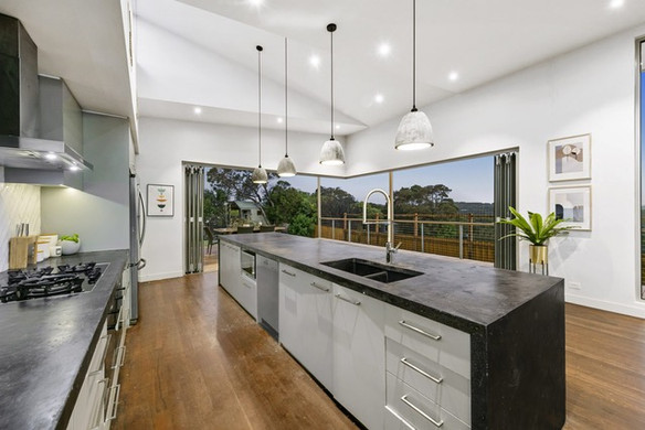 Feature lighting and custom benchtops