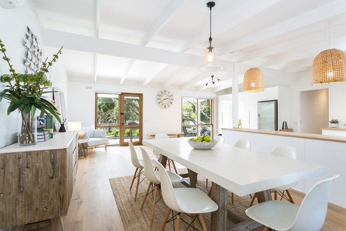 Dining area flooded with natural light