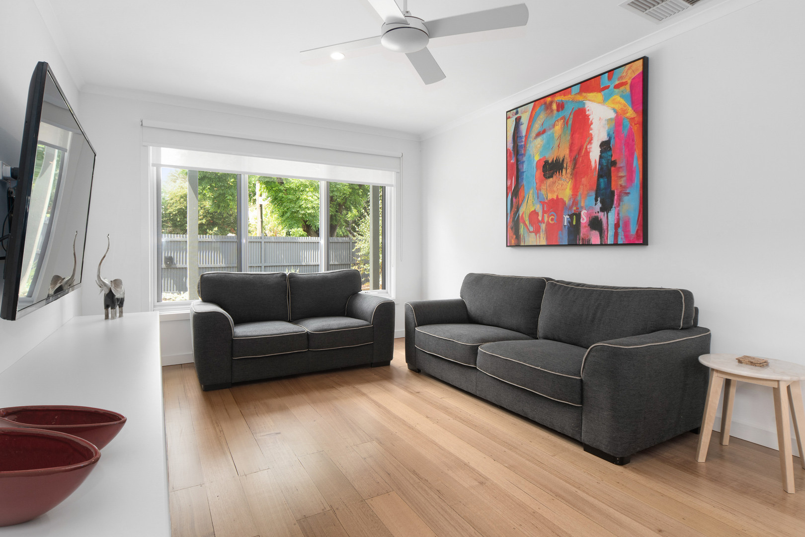 Ceiling fans throughout and air conditioning