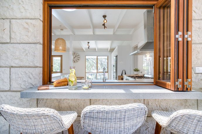Servery window with seating