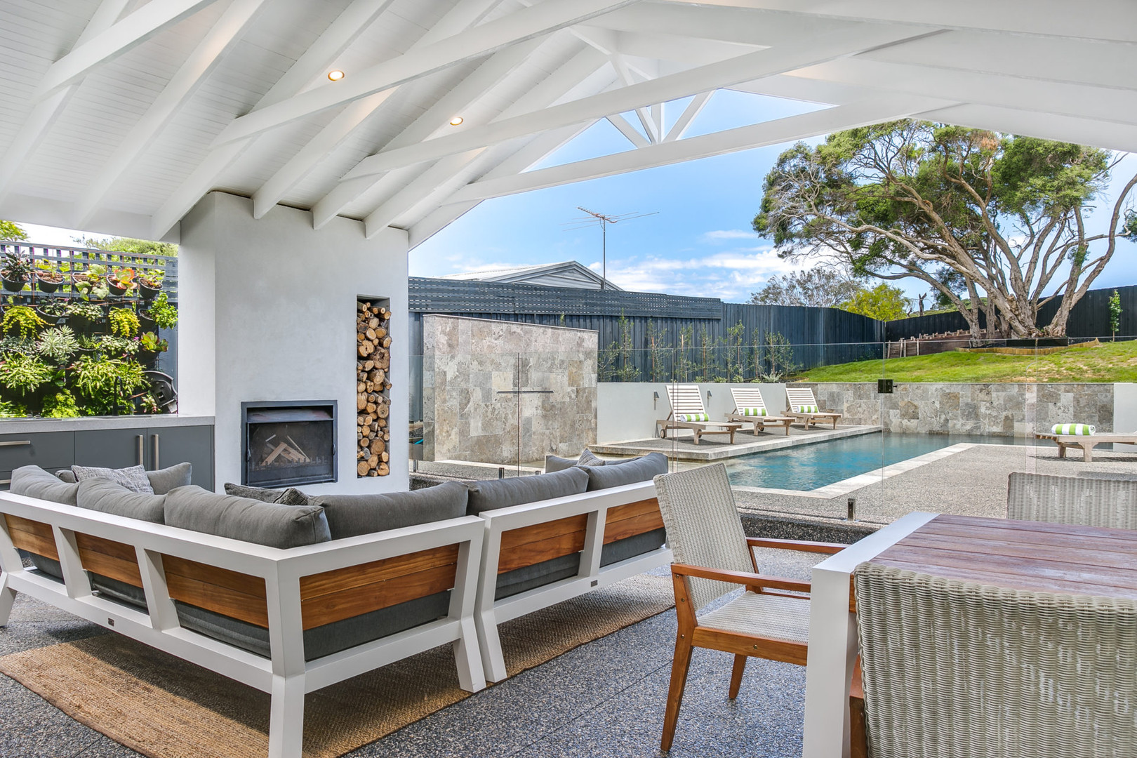 Pool views from entertaining space
