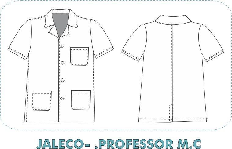 Jaleco Professor manga curta