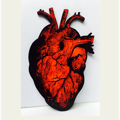 (#1/30) Hand-Pulled Heart Silkscreen Print Mounted on Wood, Limited Edition