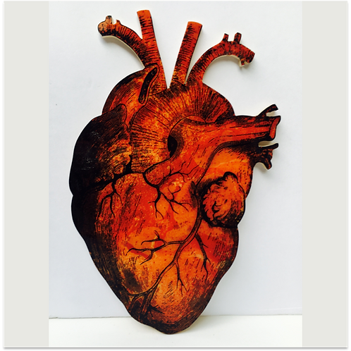 (#5/30) Hand-Pulled Heart Silkscreen Print Mounted on Wood, Limited Edition