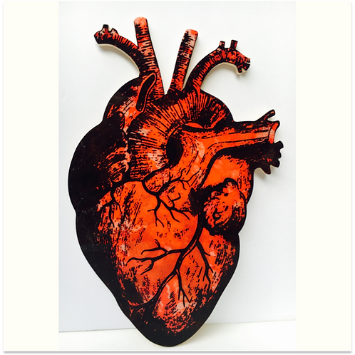 (#7/30) Hand-Pulled Heart Silkscreen Print Mounted on Wood, Limited Edition