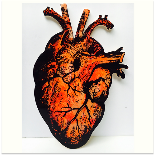 (#9/30) Hand-Pulled Heart Silkscreen Print Mounted on Wood, Limited Edition