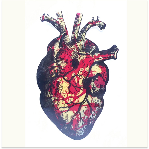 (#3/30) Hand-Pulled Heart Silkscreen Print Mounted on Wood, Limited Edition