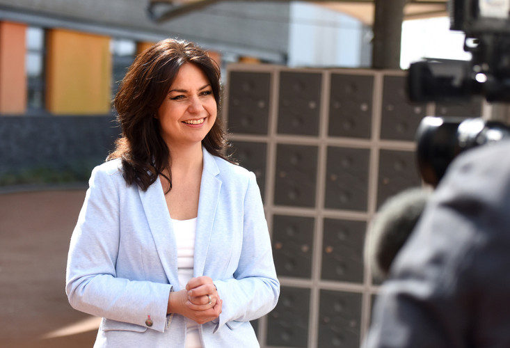 Heidi Allen being interviewed after she joined Change UK