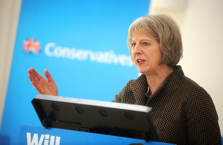 Theresa May giving a speech while she was Home Secretary