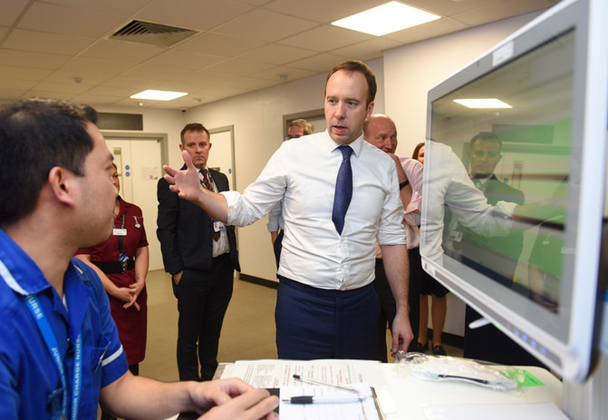 Matt Hancock, the Health Secretary, talking to staff at Colchester Hospital