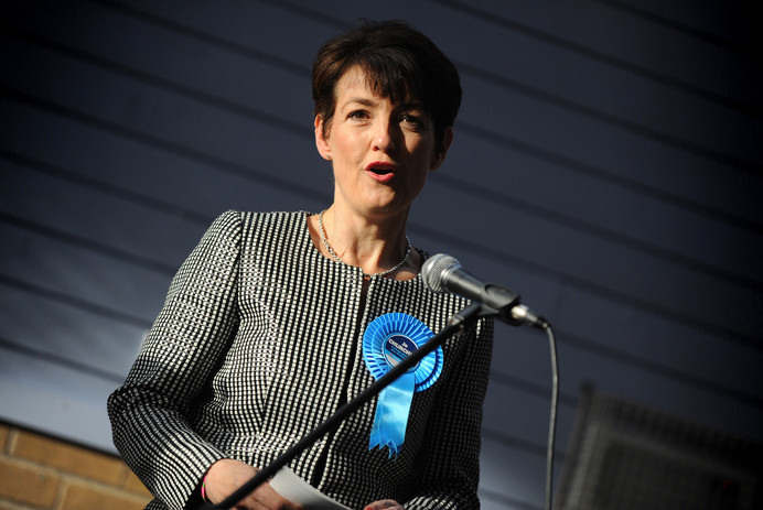 Jo Churchill MP giving her acceptance speech after winning her seat at the 2015 General Election