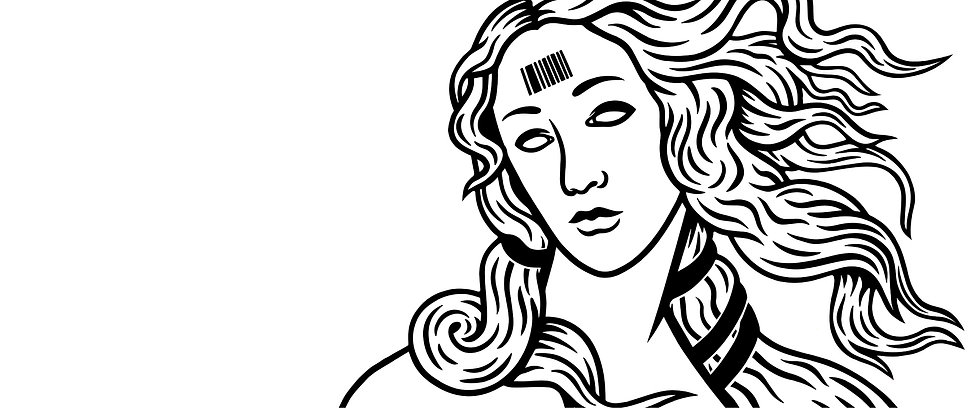 A black and white vector illustration of Sandro Botticelli's 'The Birth of Venus', drawn in my unique style. Her eyes are blank and she has a barcode on her forehead.