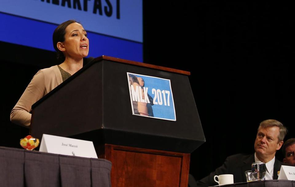 Sen. Chang-Díaz speaks in support of criminal justice reform at the 2017 MLK Breakfast.