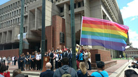 Pride flag is raised at Boston City Hall