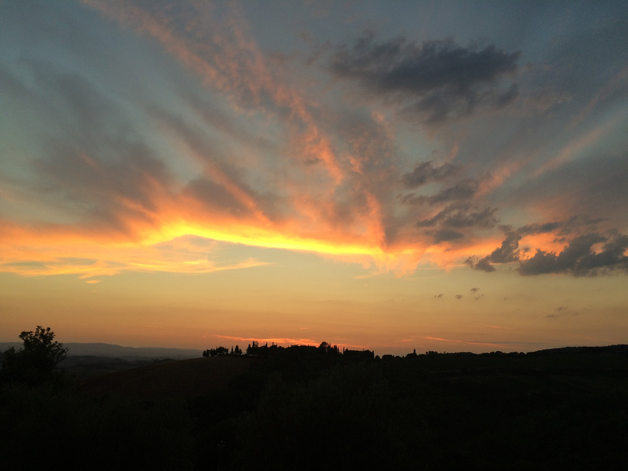 My favorite sunset ever. Castellina in Chianti, July 2016
