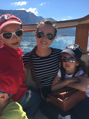 With my nephew Louis and niece Chloe on Lake Como, July 2017