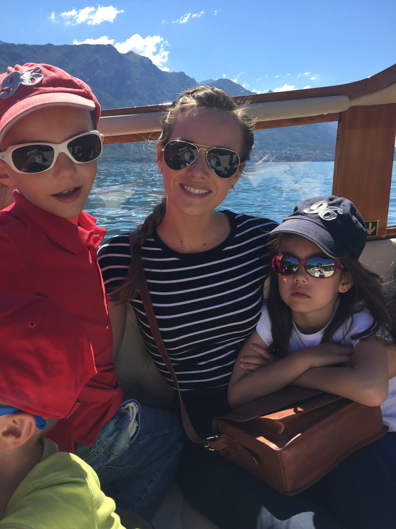 With my nephew Louis and niece Chloe on Lake Como, July 2017