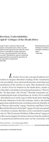 """Aneconomy, Indirection, Undecidability: Derrida's Principled Critique of the Death Drive"""