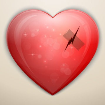 A heart with a cut and a band-aid.