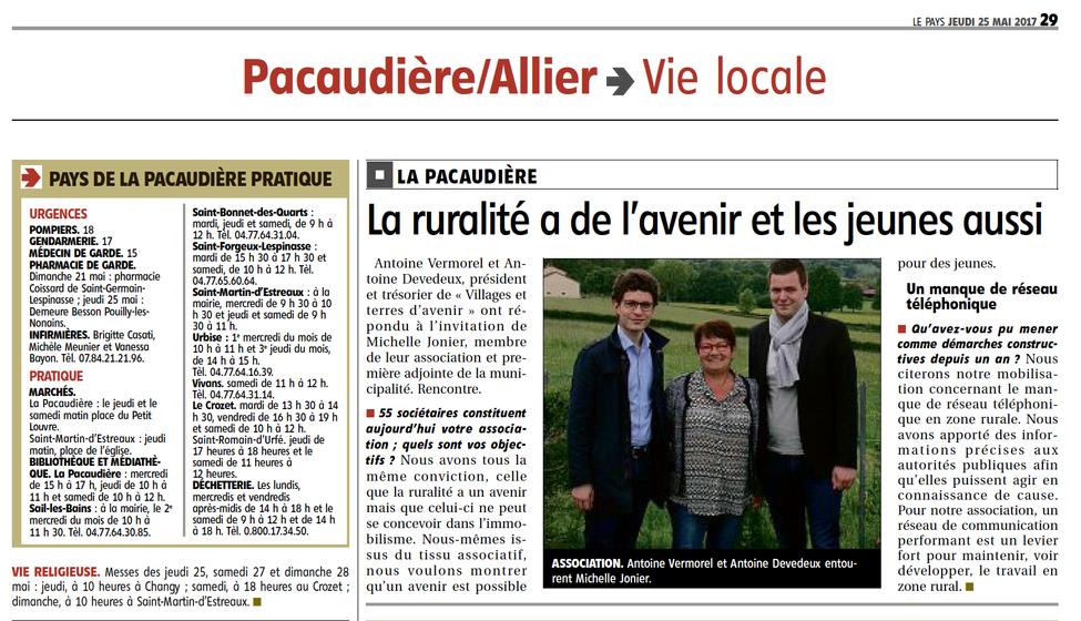 """Le Pays roannais à propos de notre association : """"La ruralité a de l'avenir et les jeunes a"""