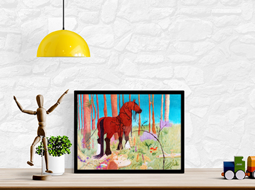 Sirona Print in frame on desk with decorations
