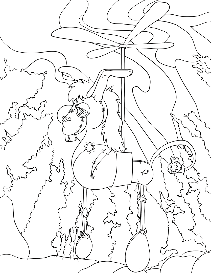 Wonkee Donkee with a propeller as a Pegasus in a forest.