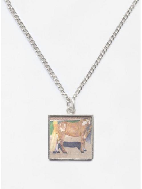Aces Diamond Rio Portrait Beveled Square Necklace Pendant and Chain