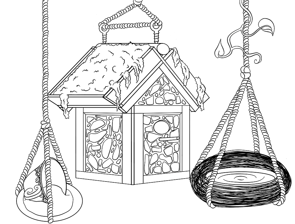 A birdhouse, bird bath, and teacup with saucer bird feeder.