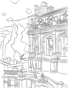 A building drawn from a government building in Rome, Italy.