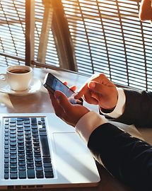 business man using internet on  smart ph