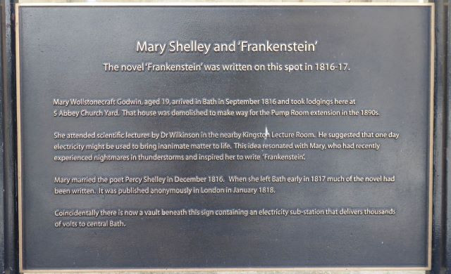 The plaque in Bath marking the location where Mary Shelley stayed