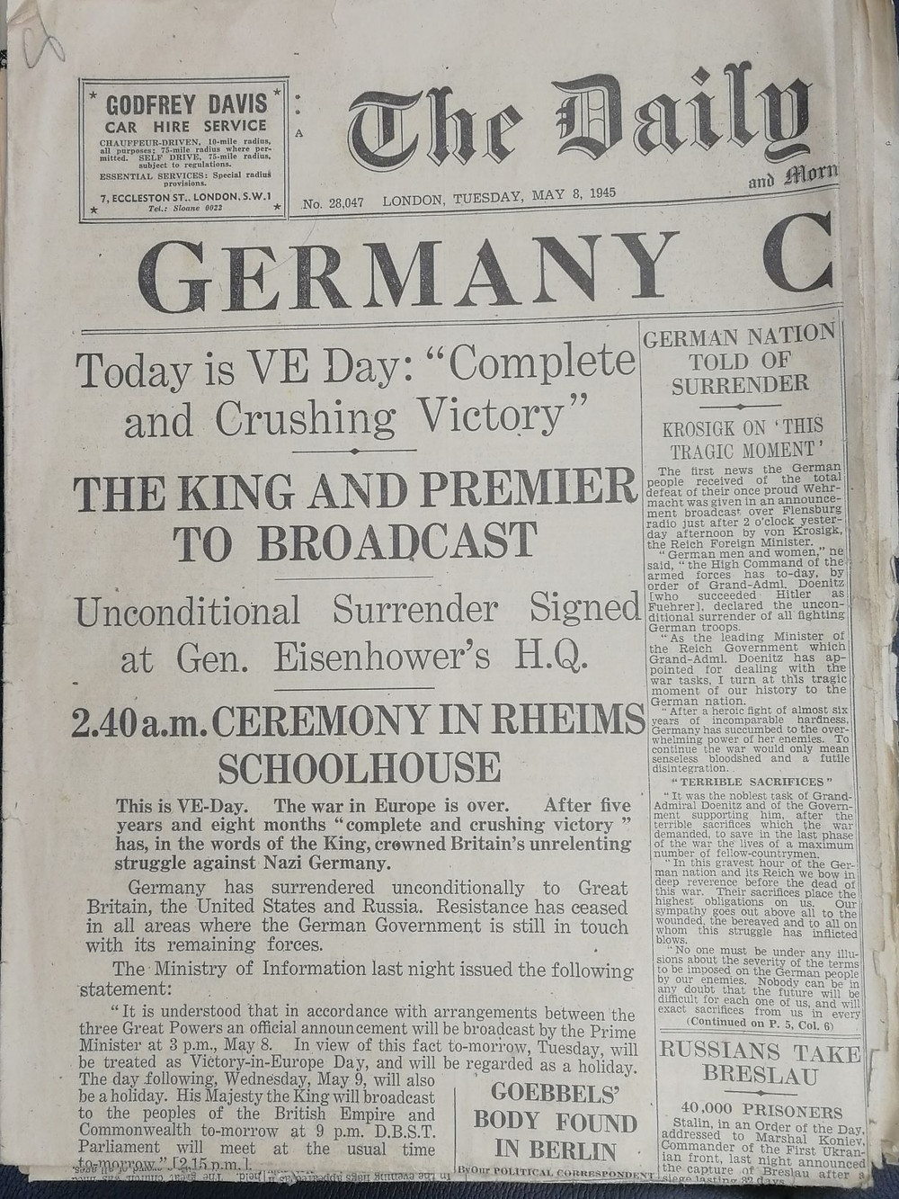 Front Page of the Daily Telegraph on May 8th 1945