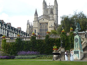 Bath Abbey from Parade Gardens during Bath walking tour