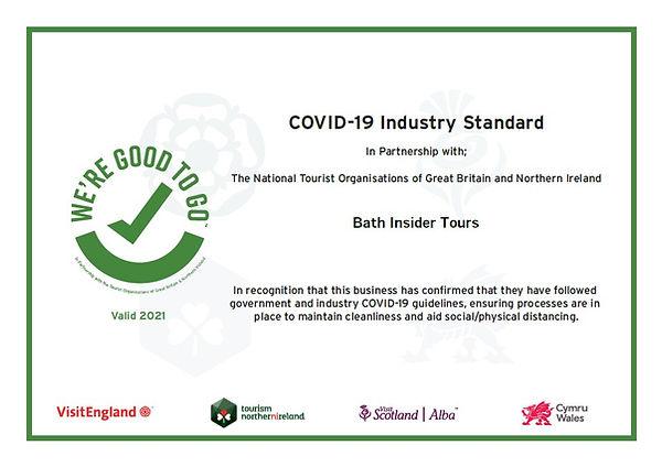 COVID-19 Certificate for Bath Insider Tours
