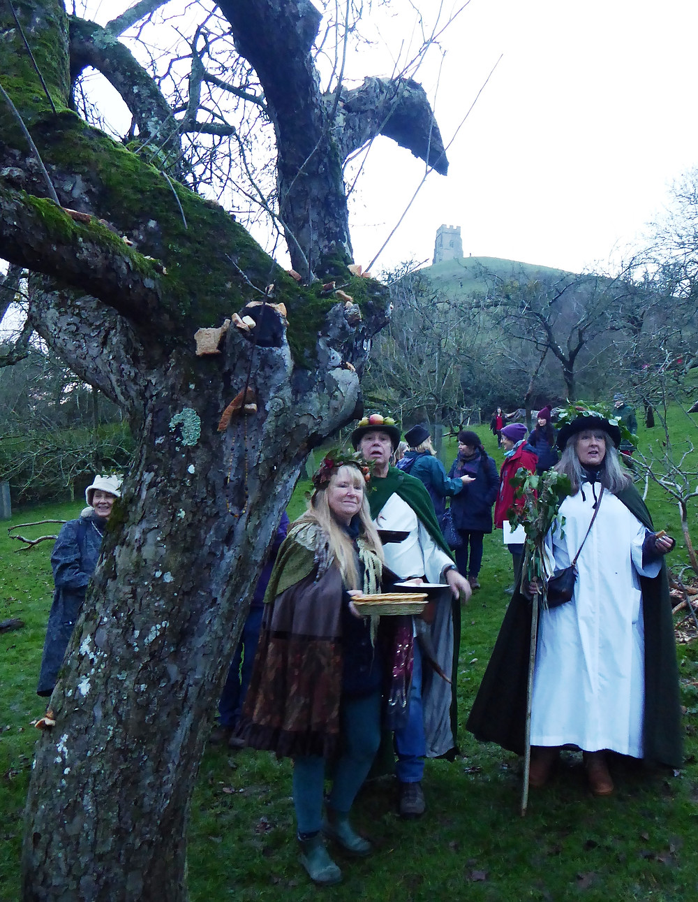 Wassailing festival under the iconic Glastonbury Tor