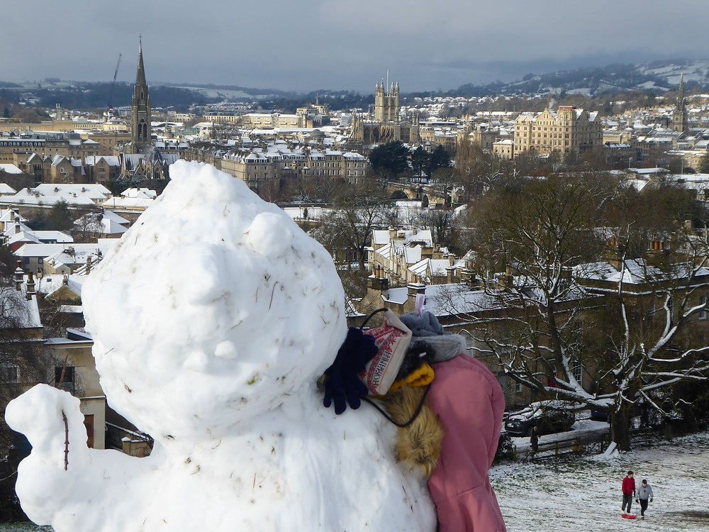 Photo-bombed by a snowman in Bath!