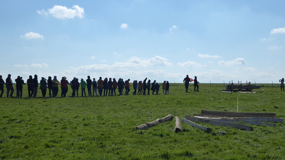 Guests testing the methodology for transporting stones to Stonehenge