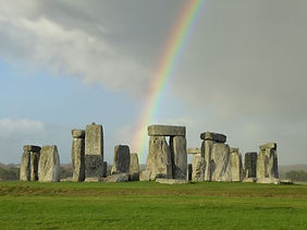 Rainbow at stonehenge during tour from Bath