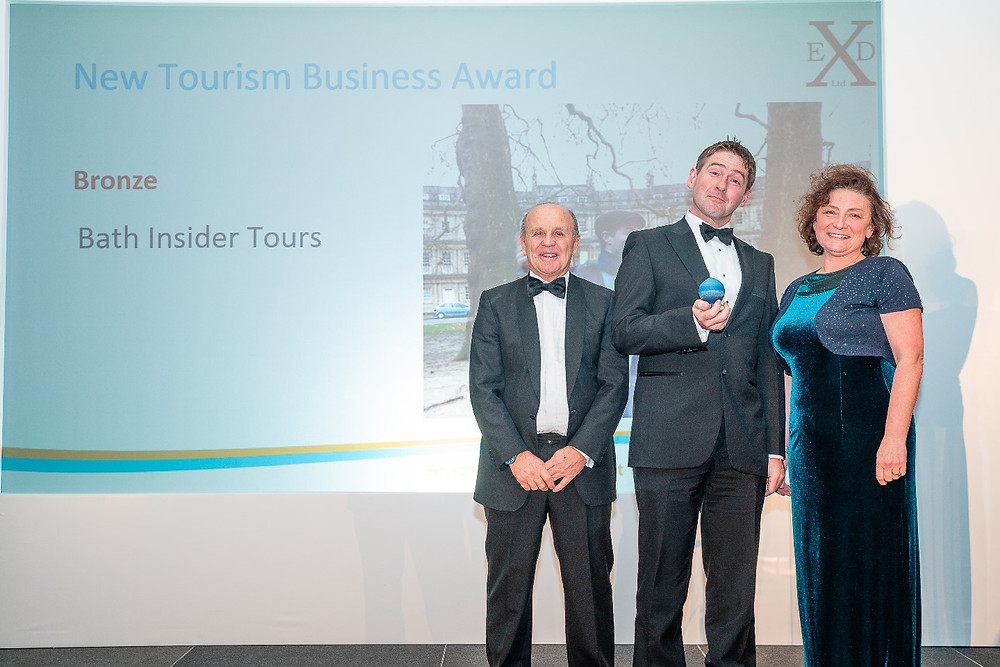Daniel from Bath Insider Tours receiving the award at the Bristol Bath and Somerset Tourism Awards Ceremony